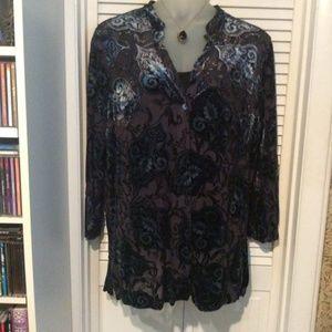 Units Woman 1X blouse. Velvet burnout desi…